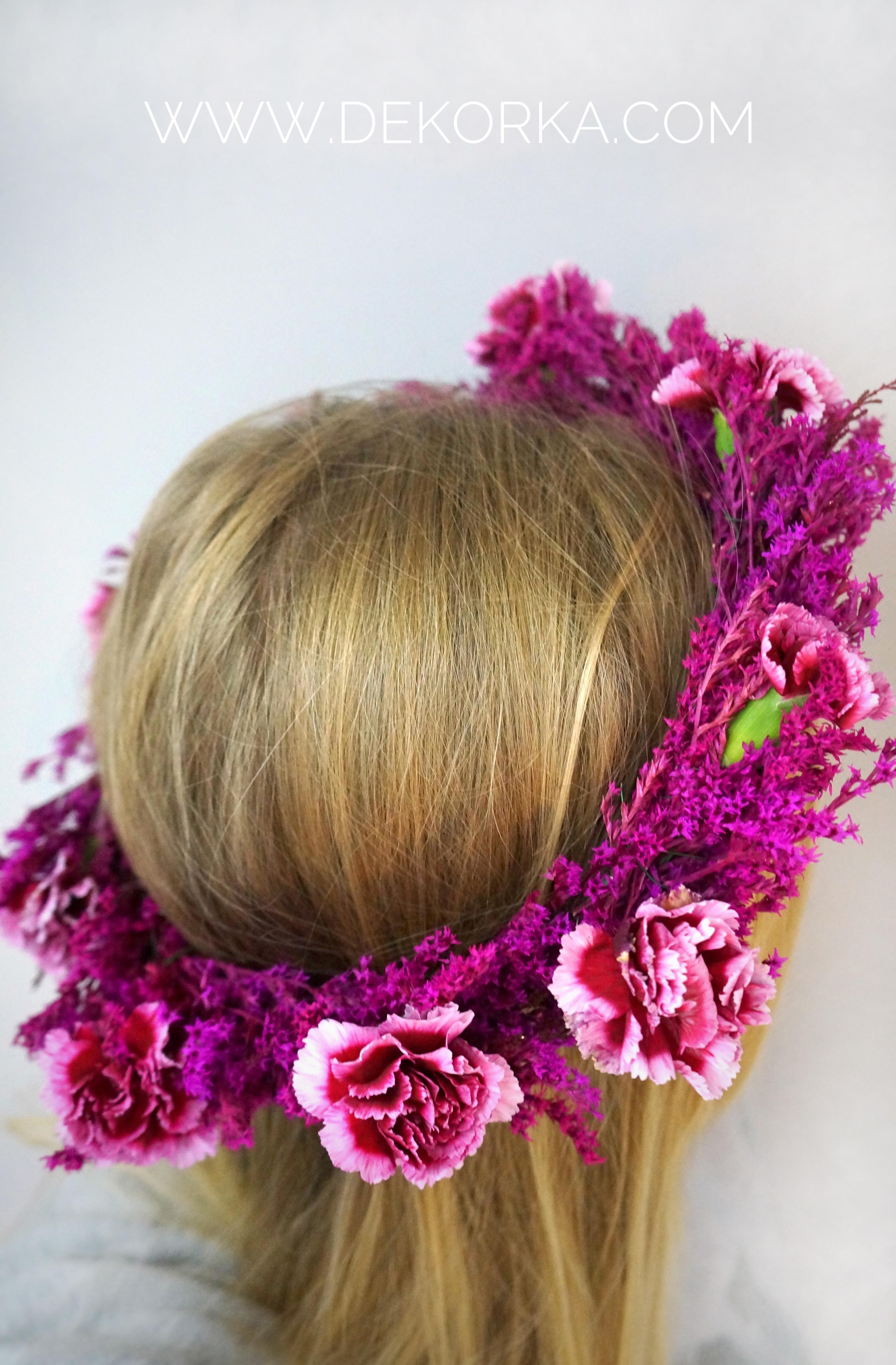 fuksjowy wianek do włosów