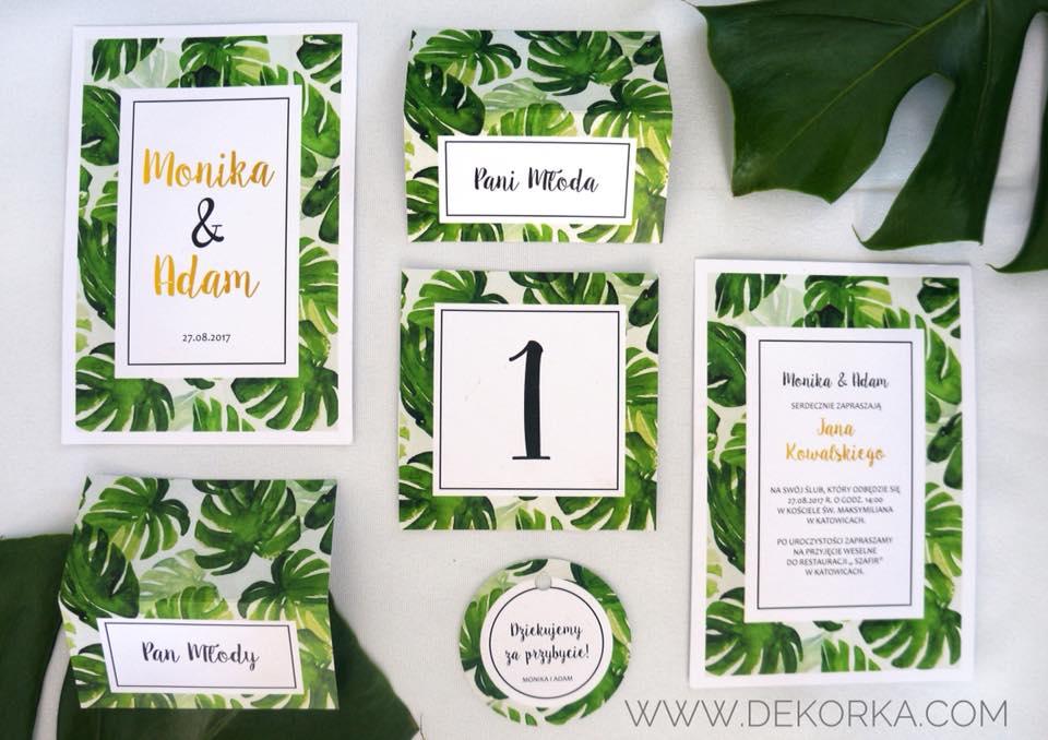 dekorka zaproszenia tropikalne
