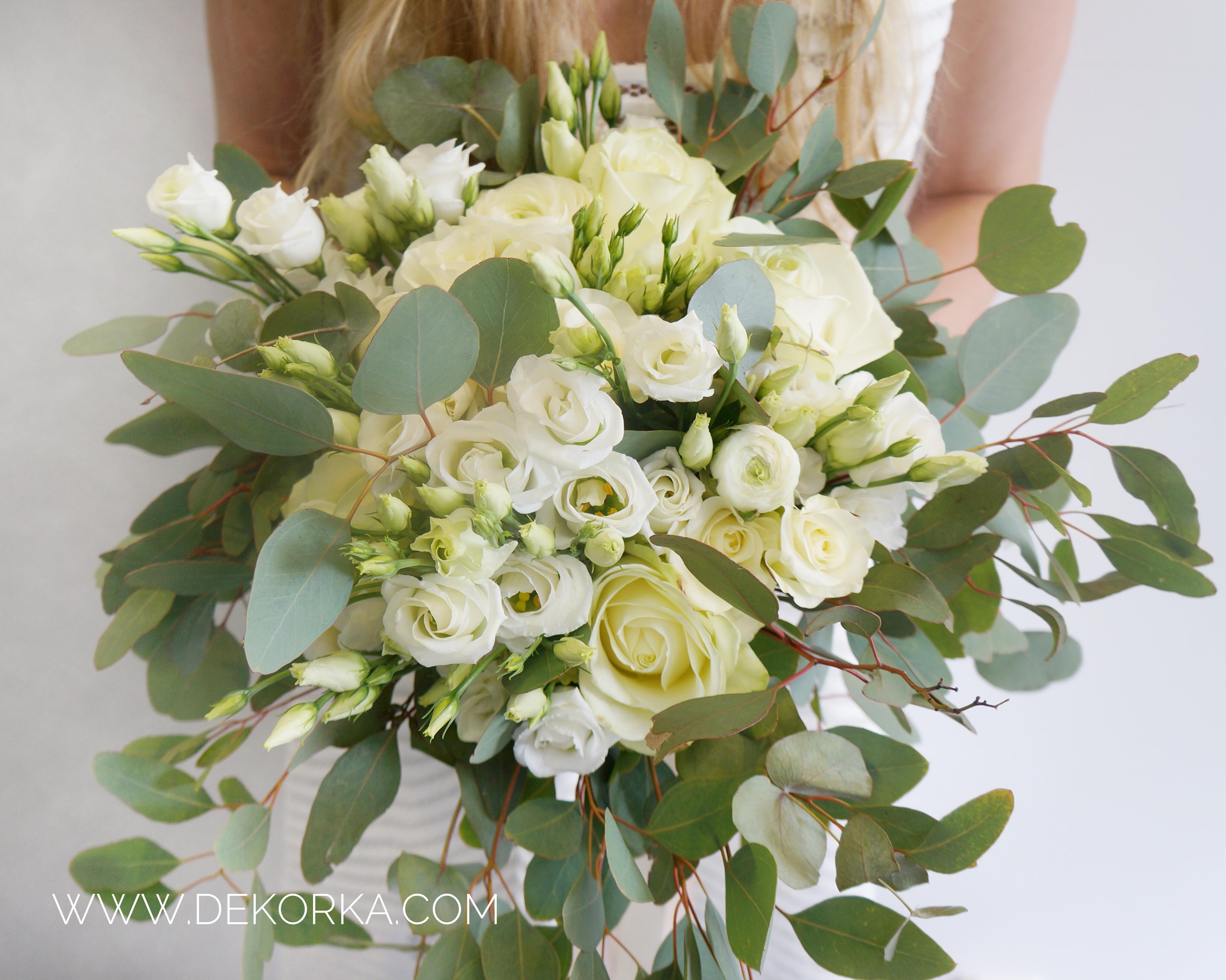 bukiet ślubny eukaliptus dekorka