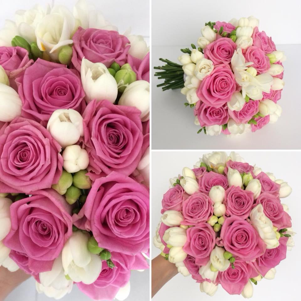 bukiet różowo biały dekorka katowice