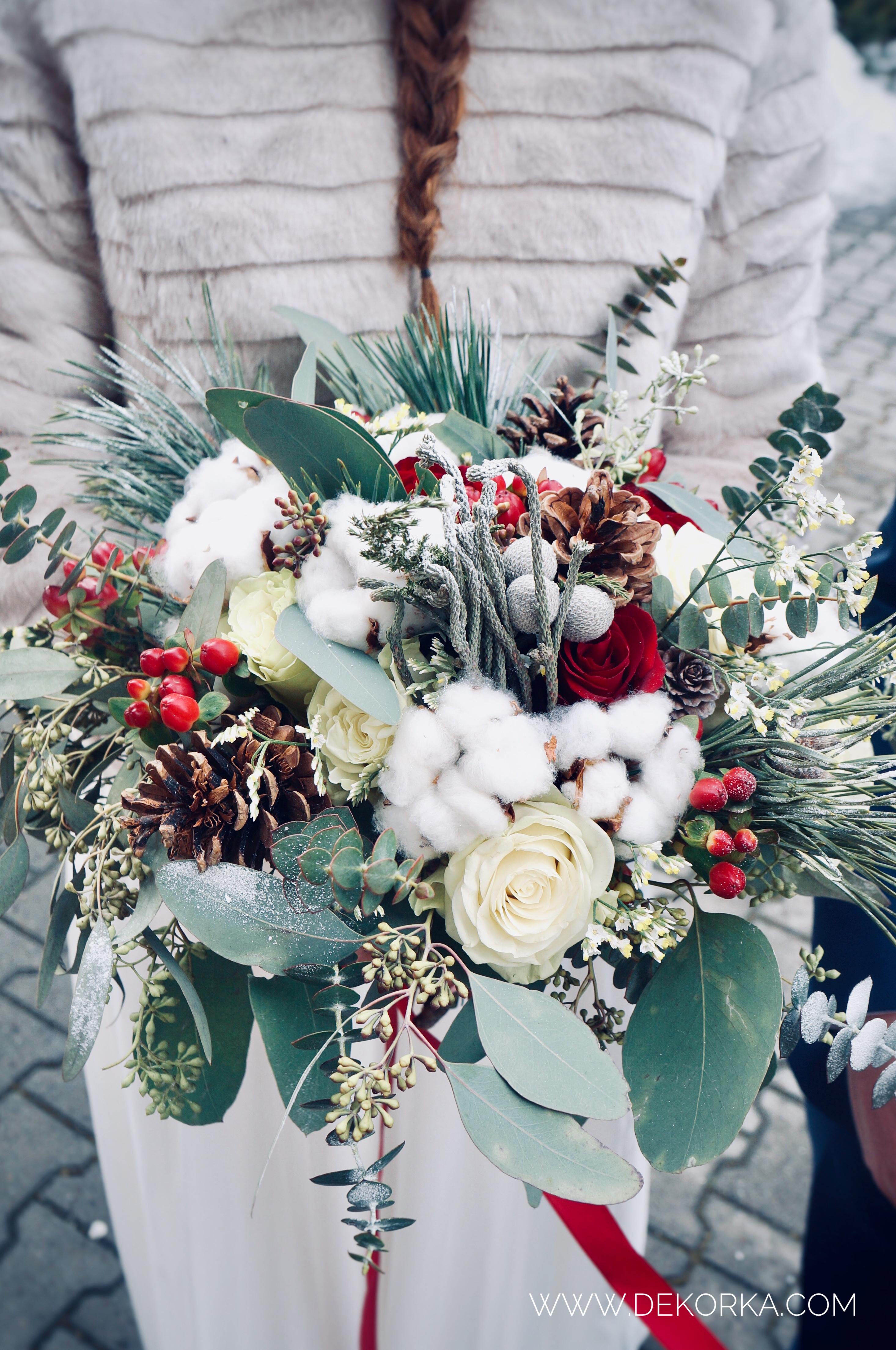 bukiet ślubny zimowy